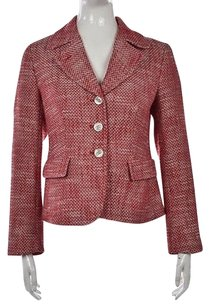 Talbots Talbots Womens Red Tweed Blazer Long Sleeve Career Jacket Wtw