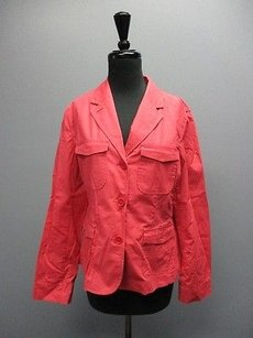 Talbots Talbots Pink Cotton Long Sleeves Pocket Button Front Solid Blazer Sma11893