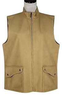 Talbots Talbots Womens Tan Coat Vest Polyester Sleeveless Jacket Outer Wear