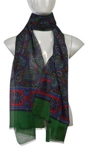 Talbots Talbots Womens Green Printed Scarf One Cotton Blend Casual
