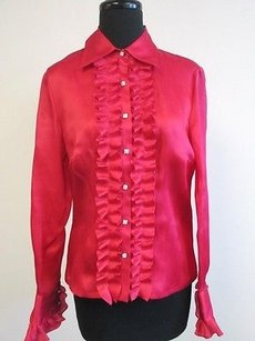 Talbots Dark Silk Long Top Pink