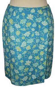 Talbots Womens Floral Skirt Blue