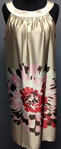 Taylor short dress Beige Multicolor Cotton Lined Floral Sleeveless Ruffle Accent Y004 on Tradesy