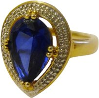 Technibond Technibond Lab Created Dark Blue Sapphire Ring with Diamond Accents Size 8