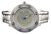 Techno Com by KC Kc Techno Com Colored Stones Dial Stainless Steel Diamond Dress Watch 5.0ct.