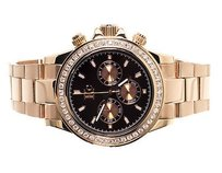Techno Com by KC Mens Ladies Rose Stainless Steel 41mm Techno Com Kc Daytona Diamond Watch 1.9 Ct