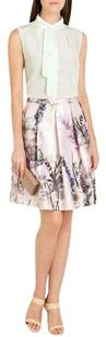 Ted Baker Floral Print Patchwork Pleated Date Night Skirt Pink