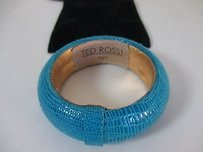 Ted Rossi Ted Rossi Turq Textured Leather Bangle Bracelet
