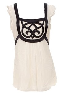 Temperley London Silk Tunic Silk Ruffle Embroidered Top White, Black