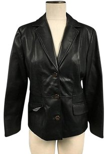 Terry Lewis Leather Collared Button Lined W Pxs Sma10064 Black Jacket
