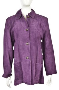 Terry Lewis Womens Plum Leather Casual Long Sleeve Coat Plum Purple Jacket