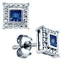 Ladies Luxury Designer WGP .925 Sterling Silver 0.05 Cttw Blue Diamond Princess Fashion Earrings By BrianGdesigns