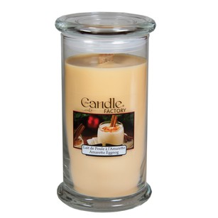 The Candle Factory Large 15-ounce Jar Crackling Candle Amaretto Eggnog