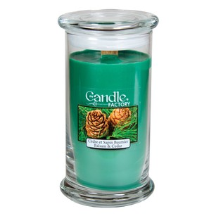 The Candle Factory Large 15-ounce Jar Crackling Candle Balsam And Cedar