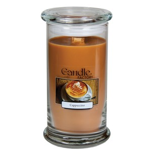 The Candle Factory Large 15-ounce Jar Crackling Candle Cappuccino