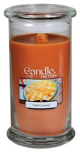 The Candle Factory The Candle Factory Large 15-Ounce Jar Crackling Candle, Cafe Caramel