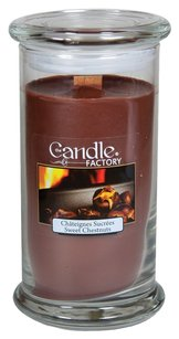 The Candle Factory The Candle Factory Large 15-ounce Jar Crackling Candle, Sweet Chestnut