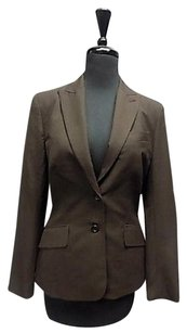 The Limited The Limited Brown Topstitched Two Button Solid Tan Lining Blazer 512a