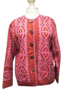 The Territory Ahead The Territory Ahead Pink Dark Red Patchwork Button Up Blazer Jacket 5764 A