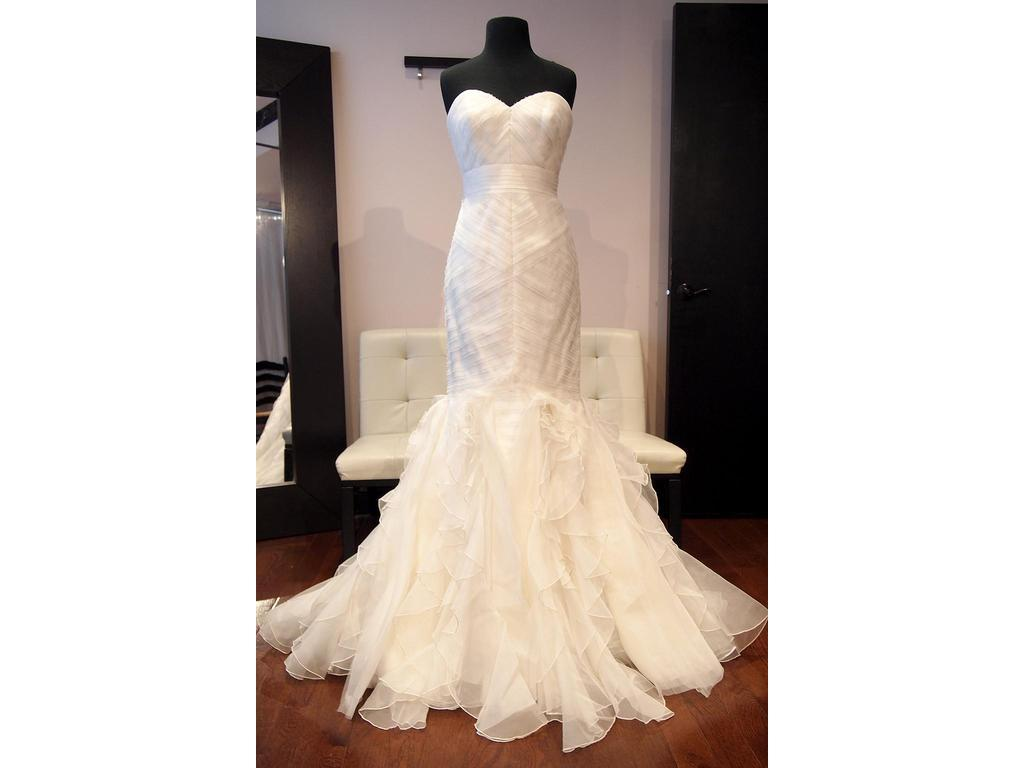 Theia Off White Silk Patricia Mermaid Gown Formal Wedding