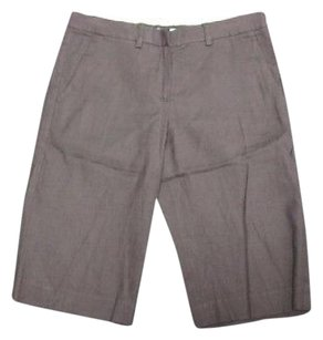 Theory Linen Flat Zip Front Solid Casual 4573 A Bermuda Shorts Brown