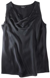 Theory Black Charmeuse Silk Tank Ej Top