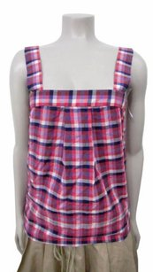 Theory Tressia Zealous Engine Red Plaid Check Ptp Top Red,Multi-Color