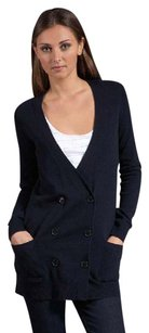 Theory Morton Navy Dark Cashmere Double Breasted Barney Cardigan Sweater