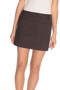 Theory Chocolate Zip Mini Skirt Brown