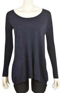 Theory Womens Navy Speckled Scoop Neck Cashmere Sweater