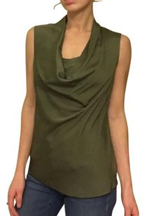 Theory Sleeveless Silk Cowl Neck Suiting Work Apparel Top Green