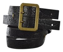 Theory Theory Womens Black Width Belt Textured Leather Casual