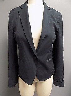 Theory Theory Navy Blue Lined One Button Blazer W Faux Pockets Wool Blend 1208a