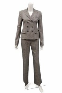 Theory Theory Grey Brown Double Breasted Herringbone Pants Suit Set 24 220109ws2