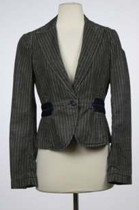 Theory Theory Womens Charcoal Striped Blazer Cotton Long Sleeve Career Jacket