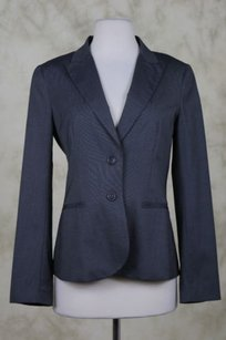 Theory Theory Womens Gray White Blazer Med Wool Basic Jacket Career