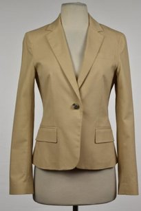 Theory Theory Womens Tan Blazer Cotton Long Sleeve Career Basic Jacket