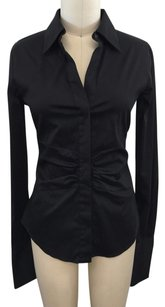 Theory Ruched Button Top Black