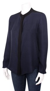Theory Gerine Navy Black Trim Button Up Silk Satin Jacquard Sp Top Blue