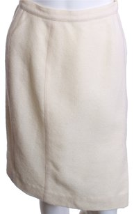 Thierry Mugler Herringbone Wool Skirt CREAM