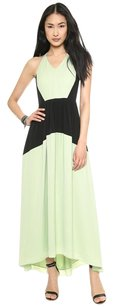 Green, Black Maxi Dress by Tibi Color-blocking Silk Maxi Cut-out Panel