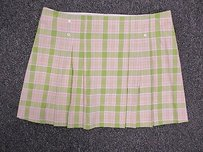 Tibi Pink Plaid Checker Pattern Pleated Short Mini B2117 Skirt Green