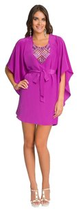 Tibi short dress Magenta Silk Scoop Neck Beaded Caftan on Tradesy