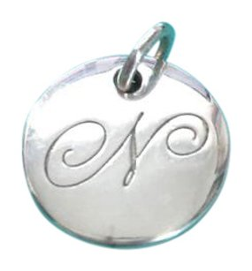 Tiffany & Co. Authentic Tiffany Co Round N letter Script Charm Pendant