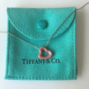Tiffany & Co. Elsa Peretti Pink Rhodonite Heart Charm Silver Necklace POUCH!