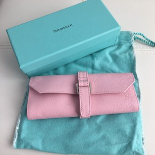 Tiffany & Co. New Pink Leather Jewelry Travel Purse Bag Roll Case BOX POUCH!