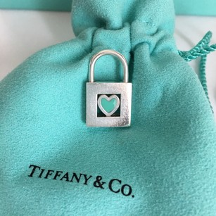 Tiffany & Co. RARE HTF Silver Blue Enamel Heart Lock (Opens and Closes) Charm POUCH