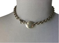 Tiffany & Co. Return to Tiffany Silver Oval Tag Choker Link Necklace