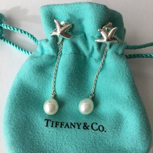 Tiffany & Co. Silver Elsa Peretti Star Starfish Pearl Drop Earrings BOX POUCH!!