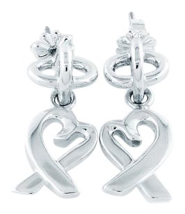 Tiffany & Co. Sterling Silver Picasso Loving Heart Dangle Earrings